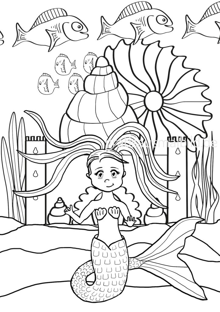 Ausmalbilder Meerjungfrau zum Ausmalen mit Fischen Schloss Unterwasserwelt Sand Sommer Kawaii