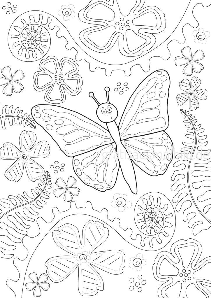 Gratis Ausmalbilder Schmetterling Blume Farn gratisausmalbild.de